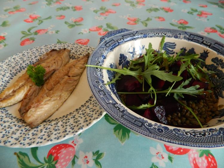Mackerel, puy lentils and beetroot
